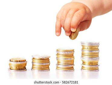 Baby hand and money isolated over white