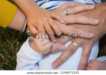 Baby Hand Mother Father Children Hands Stock Photo Edit Now