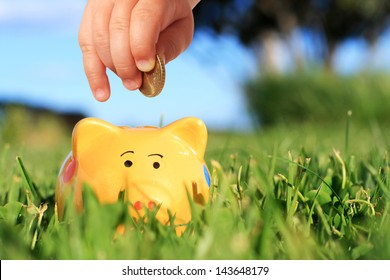 Baby hand and piggybank over nature background.