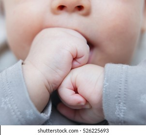 Baby hands. The child sucks fists