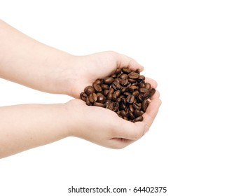 The Baby hands and coffee to beans. Insulated on white.