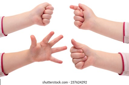 baby hands isolated on white background. Various gestures and movements.