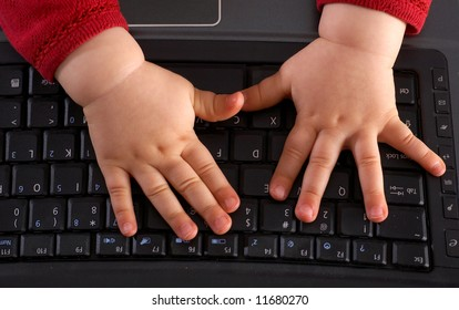Baby hands on keyboard