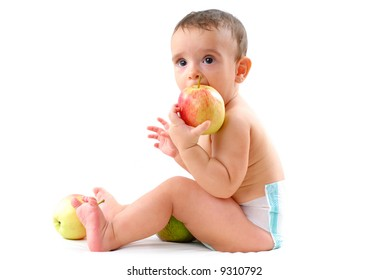 Baby with healthy fruits on white background .