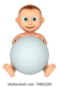 baby holding ball, 3d render isolated on white