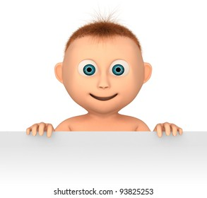baby holding blank, 3d render isolated on white