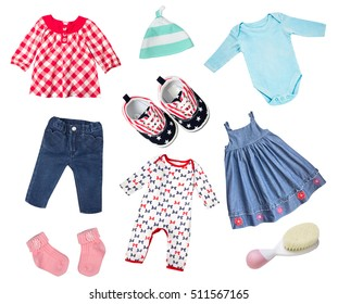 Baby infant newborn child girl set of clothes isolated on white. Stylish wear and accessories collage.