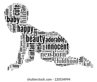 Baby info-text graphic and arrangement concept on white background (word cloud)