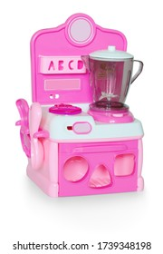Baby kitchen set toy with cooker and liquidizer. Playset with functional liquidizer, sounds and kitchen tools. Childish kitchenware on white bg. Isolated on white bg. with clipping (vector) path.