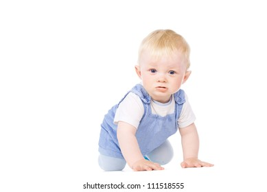 the baby learns to crawl isolated on white background