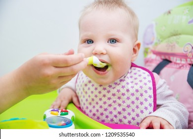 The baby learns to eat from a spoon. The first lure of the baby. - Shutterstock ID 1209535540