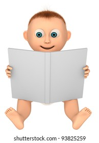 baby looking at a book, 3d render isolated on white