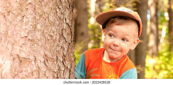 The baby looking out from behind a tree