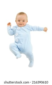 Baby lying down smiling, overhead view, cut out