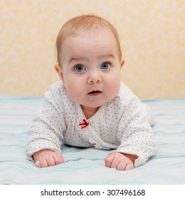 Baby lying on elbows and  tummy and putting the body up. Baby looking straight at the camera. Selective focus on baby head.