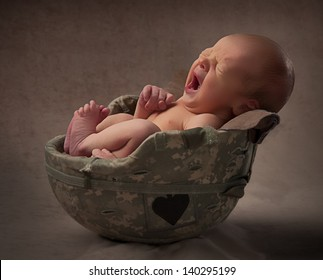 Baby in Military Helmet