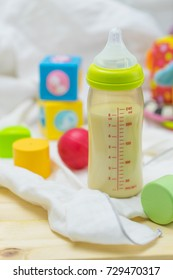 Baby milk bottle and toys