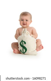 Baby with money bag on white background