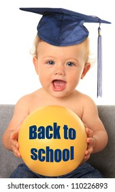 Baby with mortar board. Add your own text on the yellow ball.