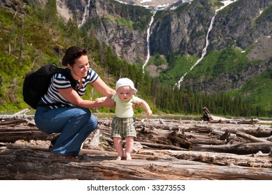Baby and mother have their first hike