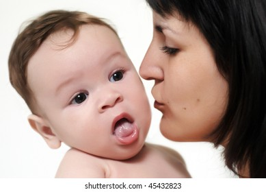 baby with mother on a white background
