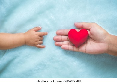 baby and mothers hands made symbol of love.