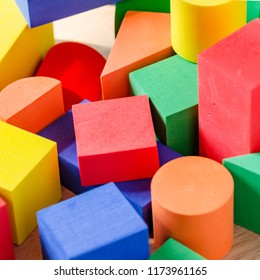 Baby multicolored toy blocks. Toy background