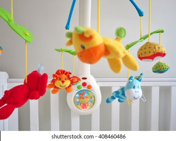 baby musical animal mobile focusing on lion