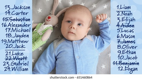 Baby names concept. Cute little boy lying on bed