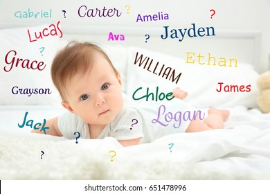 Baby names concept. Cute little child lying on bed at home