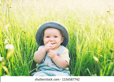 Baby in nature. Cutest smiling little girl in green grass with flowers at summertime. Image of childhood. Parents and activity with kid outdoors. Beautiful happy child sits on meadow in the park.