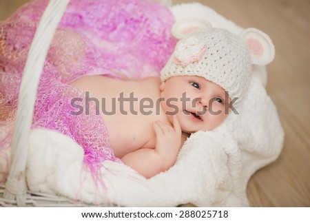 f3d309676bc Baby newborn child sleep in basket cute little girl new born baby smiling