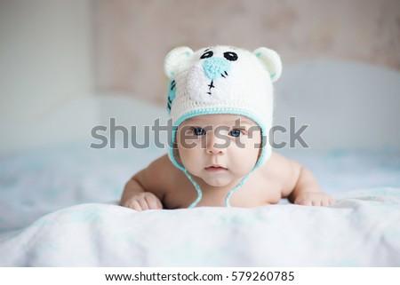 8c3ad1cc989 Baby Newborn Baby Cute Blueeyed Dark Stock Photo (Edit Now ...