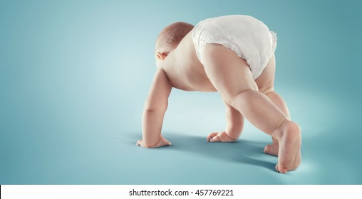 Baby. Newborn in the diaper. Isolated