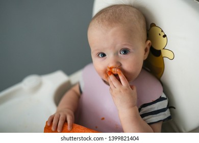 Baby nibbles carrots on a baby chair, fresh vegetables in a baby diet on a gray background.