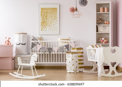 Baby nursery with a crib and golden dots pattern poster