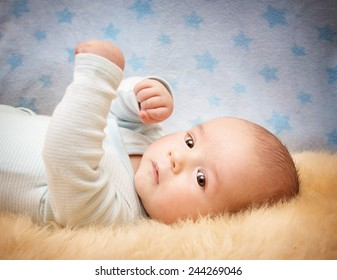 Baby on lamb wool