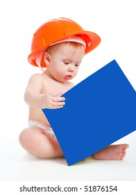 Baby in the orange hardhat reading a book