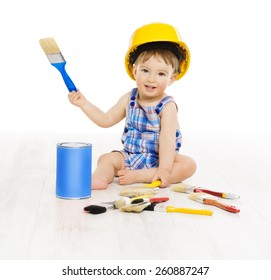 Baby Painting Brush Color. Child Boy Funny Little Designer, Small Kid Play in Hard Hat, Early Profession Concept, Isolated over White Background