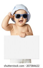 baby in panama and sunglasses holding a banner isolated