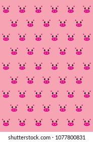 Pink Pig Wallpaper Stock Illustration 1077800813
