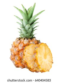 Baby pineapple isolated on white background with clipping path