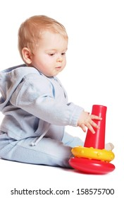 Baby play with red toy