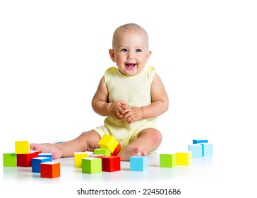 baby playing with building block toys