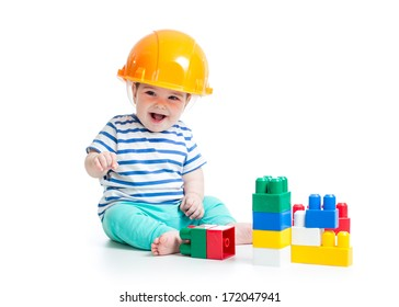 baby playing with building blocks toys