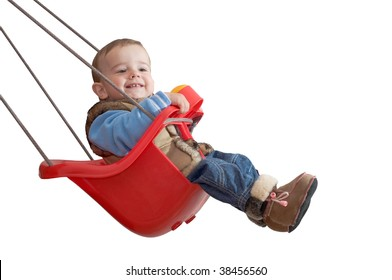 a baby is playing in a swing
