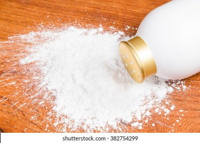 Baby powder container on wood