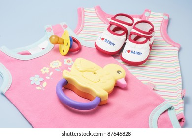 Baby Products on Blue Background