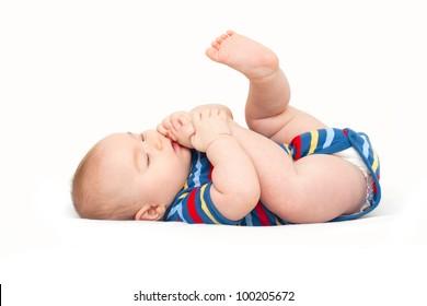 baby reaching his legs