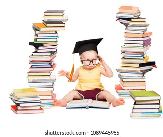 Baby Read Book in Graduation Hat and Glasses, Smart Child Sitting near Books Pile Stacks, Children Education, Isolated over White Background
